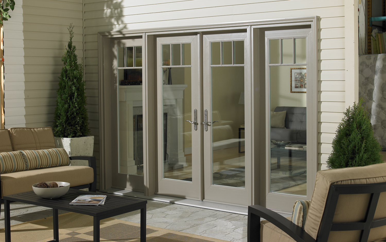 Swing patio doors heritage home design for Single swing patio door